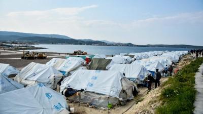 Flüchtlingsunterkunft auf der griechischen Insel Lesbos am 21. März 2021 (imago / Zuma Wire / Eurokinissi)